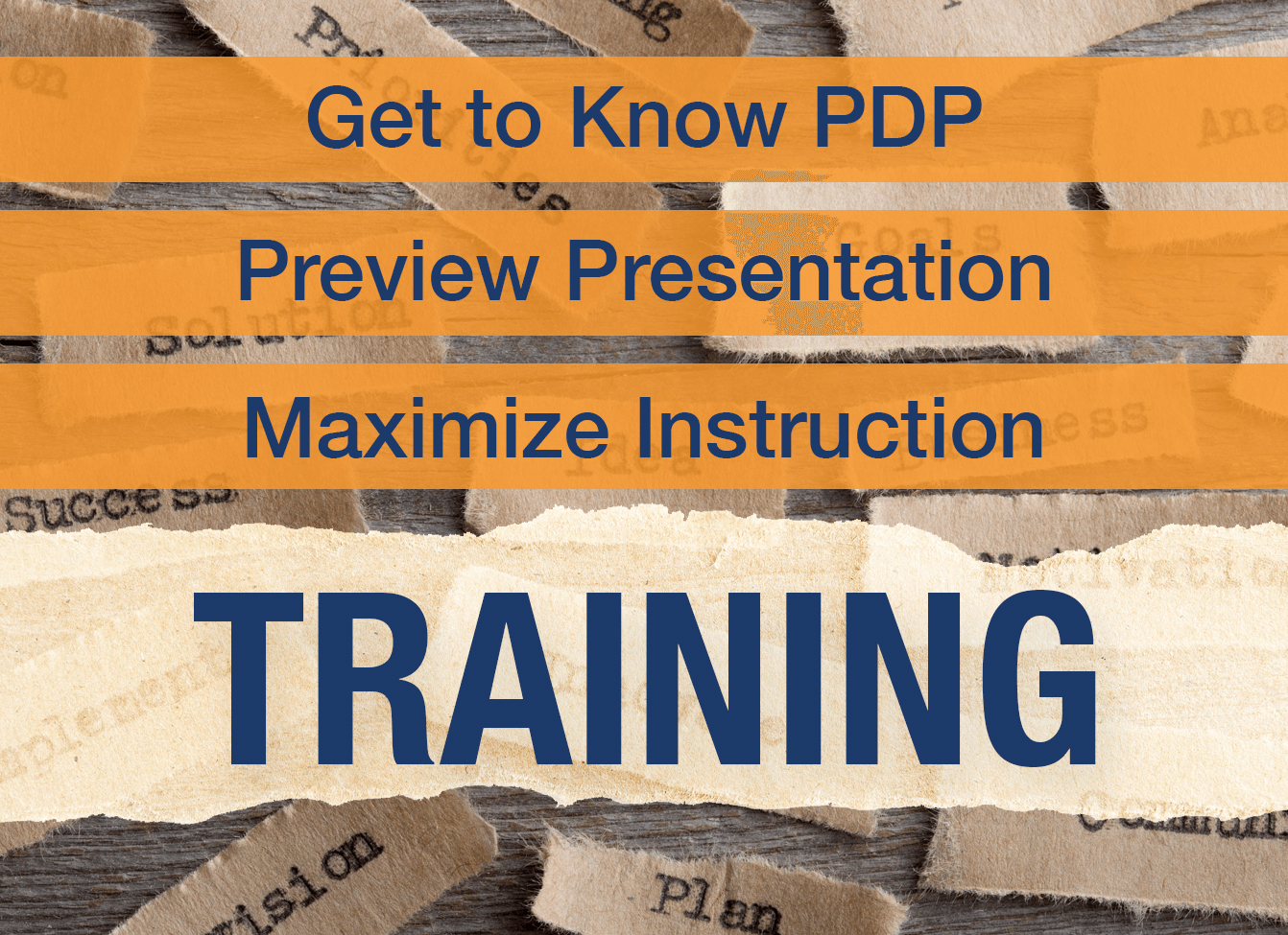 PDP Textbook Training Opportunities